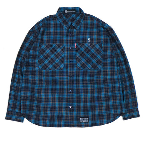S-BONE BIG NEL SHIRTS / BLUE