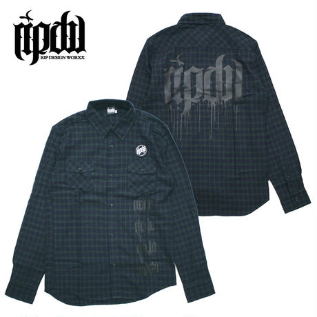 MELT LOGO CHECK SHIRT / GREEN