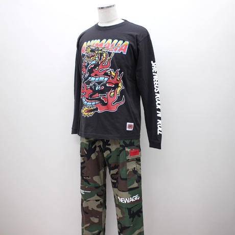 "LILWHITE(dot)カーゴパンツ""TRANSFORM"" BACK-ZIP CARGO PANTS / GREEN-CAMO"