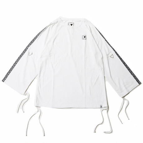 "【SILLENT FROM ME】ヘンリーネック ""CLOUD -Henley Neck Drawstring Cutsew-"" / WHITE"