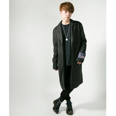 "HEDWiNG チェスターコート ""Light knit chester Coat"" / HEATHER BLACK"