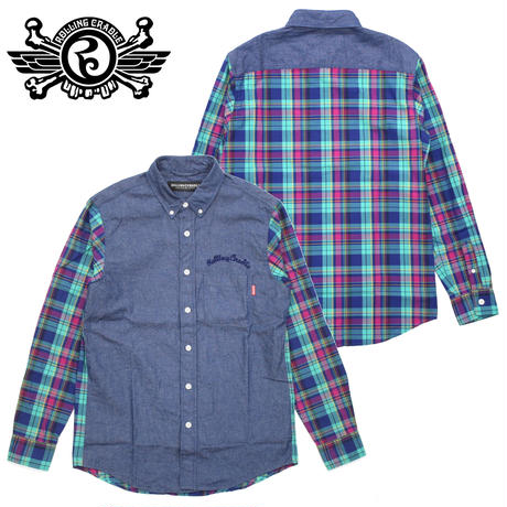 DENIM CHECK COMBI SHIRT / GREEN