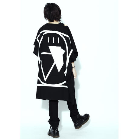 "SILLENT FROM ME ノースリーヴカットソー ""CRYPTIC -Square Sleeveless-"" / BLACK-WHITE"