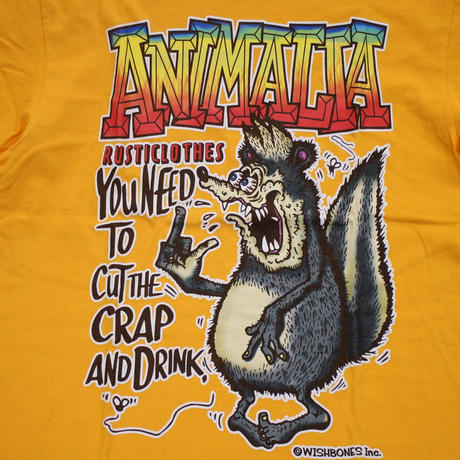 "ANIMALIA Tシャツ ""SKUNK FINK S/S"" / GOLD YELLOW"