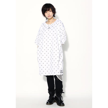 SILLENT Tシャツ SHEARS -Patterned Short Sleeve- / WHITE