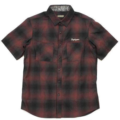 CHECK SHIRT S/S / BURGUNDY