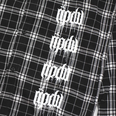 MELT LOGO CHECK SHIRT / BLACK