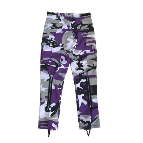 "LILWHITE(dot)カーゴパンツ""TRANSFORM"" BACK-ZIP CARGO PANTS / PURPLE-CAMO"