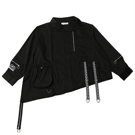 "【SILLENT FROM ME】ビックシャツ ""SHADOW -Deformed Pullover Shirts-"" / BLACK"