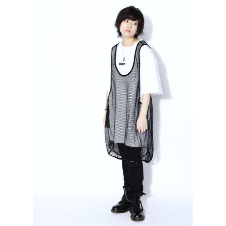 SILLENT FROM ME タンクトップ MIST -Net Tank Top- / BLACK
