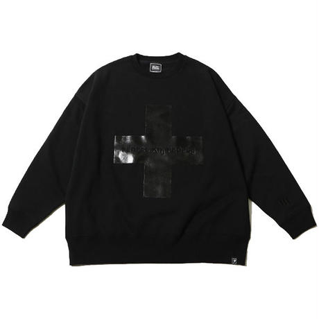 "SILLENT FROM ME ""クルースウェット ""CROSS -Loose Crew Sweat-"" / BLACK -BLACK"
