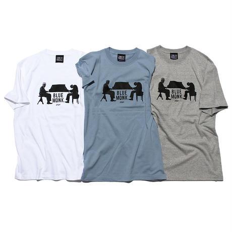 Blue Monk Tee Shirts (Grey) Art by Guru Kato