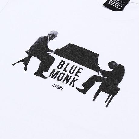 Blue Monk Tee Shirts (White) Art by Guru Kato