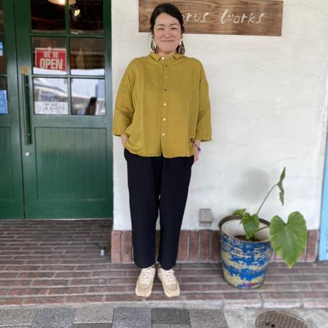 """【prit】 """"コットンリネン近江晒ショートカラーシャツ"""""""