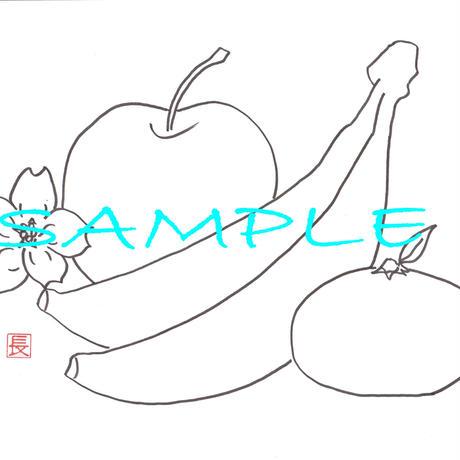 絵の基礎練習にフルーツ・果物(りんご ばなな みかん 桜)ぬり絵線画