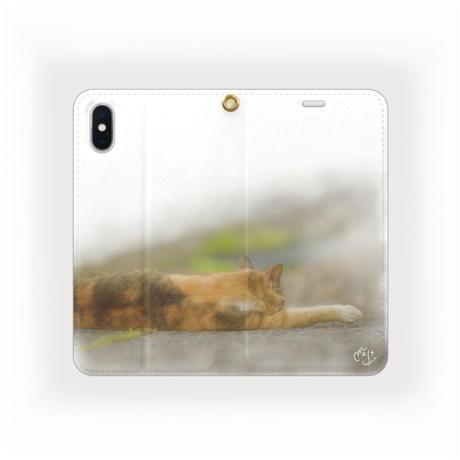 各機種対応☆ 癒し系☆ 帯なし 手帳型 スマホ ケース デザイン 伸びるネコ Android / iPhoneXs等