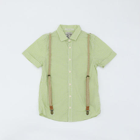 シャツ|チェック|黄緑|ユニセックス|男女兼用|100~110