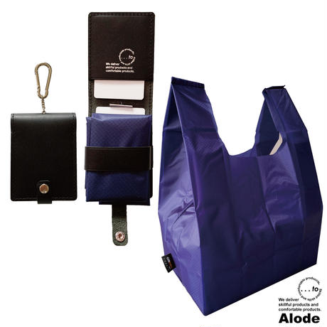 【...to・Alode】Black(ブラック)xBlue(ブルー) 本革ケース付きエコバッグ