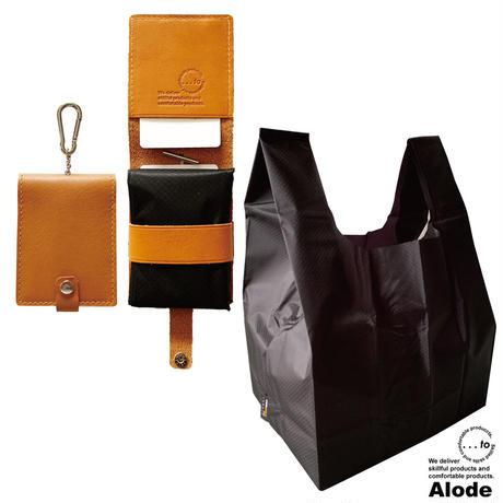 【...to・Alode】Camel(キャメル)xBlack(ブラック) 本革ケース付きエコバッグ