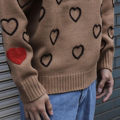 ChahChah チャーチャー HEARTFULL HAND EMBROIDERY KNIT BEIGE【CC21AW-K02】