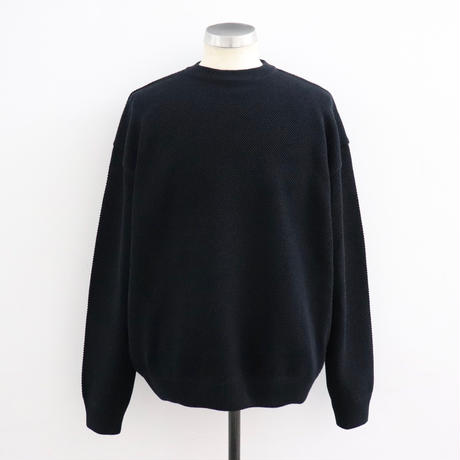 CREPUSCULE クレプスキュール  moss stitch L/S sweat Black【1903-001】(N)
