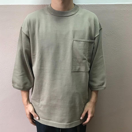 crepuscule クレプスキュール  Pocket Knit Tee 3/4 1801-006 GrayBeige(N)