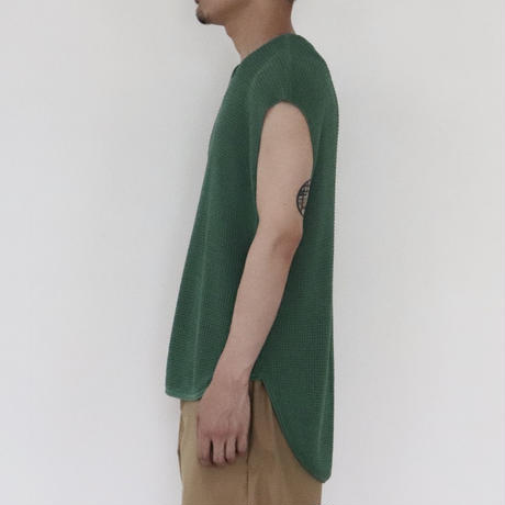 SOLARIS&Co.(ソラリスアンドコー) Cotton Loose Fit  Knit Vest Green【S20SS-SR05】(N)