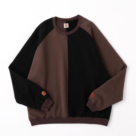 SEE SEE CRAZY PATTERN CREW SWEAT BLACK/BROWN