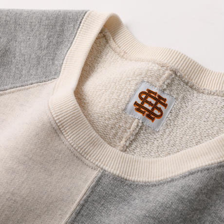 SEE SEE CRAZY PATTERN CREW SWEAT GREY/OATMEAL