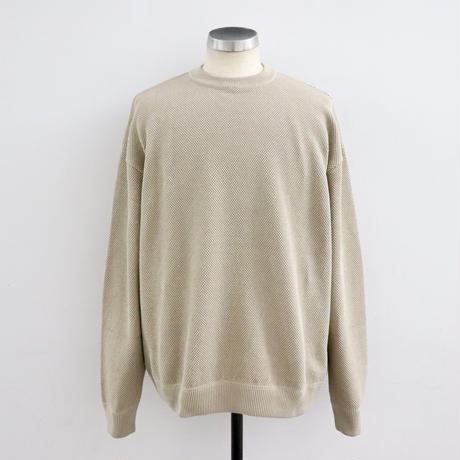 CREPUSCULE クレプスキュール  moss stitch L/S sweat Beige【1903-001】(N)