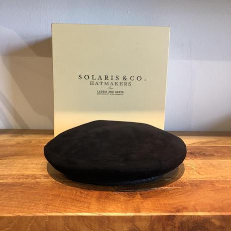 SOLARIS HATMAKERS & Co. SUEDE BERET CAP B.PANTHER Black【SH-18SS-07】(N)