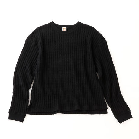 SEE SEE Waffle Crew neck L/S TEE BLACK