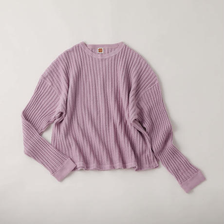 3.30(土)12:00より販売開始 SEE SEE Big Waffle Crew neck L/S TEE LIGHT PURPLE