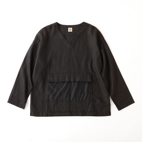 SEE SEE ヤエイ PULLOVER SHIRTS BLACK LINEN