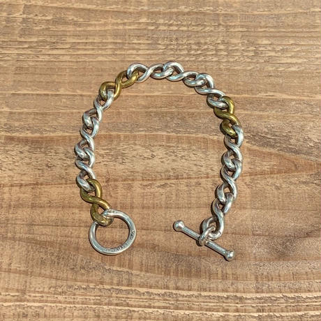 Vintage Mexican Sterling Silver & Brass Chain Link Toggle Bracelet【19SS_3MJ01】(N)