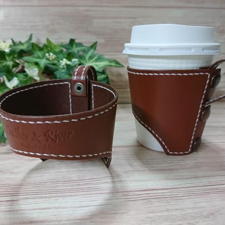 本革製コーヒーカップホルダー 茶