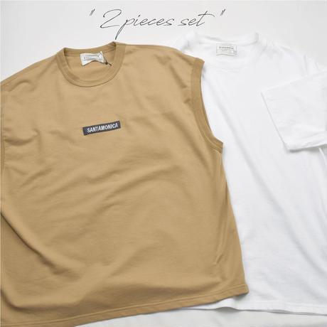 デニム切り替え ベスト&半袖Tシャツ アンサンブル 0403510-12(ベージュ)