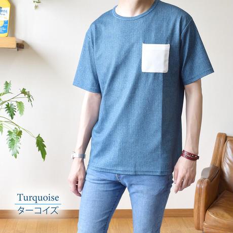 CREATION CUBE 接触冷感 フクレジャガード ポケ付き Tシャツ 0403200-48(ターコイズ・ブルー)