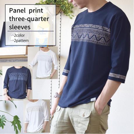 梨地パネルプリント7分袖Tシャツ 0401217-20A(オフホワイト・サーフ)