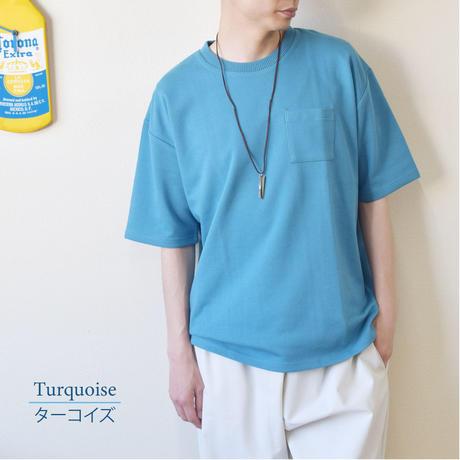 PANASPUR ポンチ素材 ポケット付き クルーネック ビッグシルエットTシャツ 0403506-88(ターコイズ)