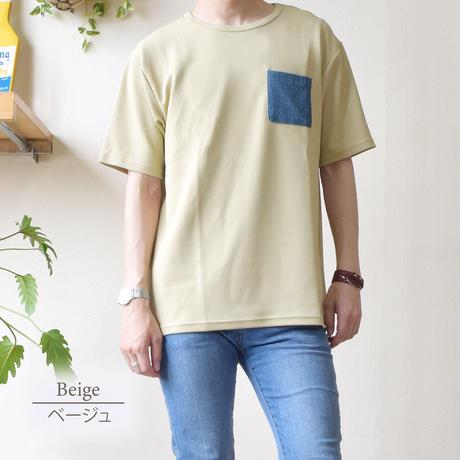 CREATION CUBE 接触冷感 フクレジャガード ポケ付き Tシャツ 0403200-12(ベージュ)