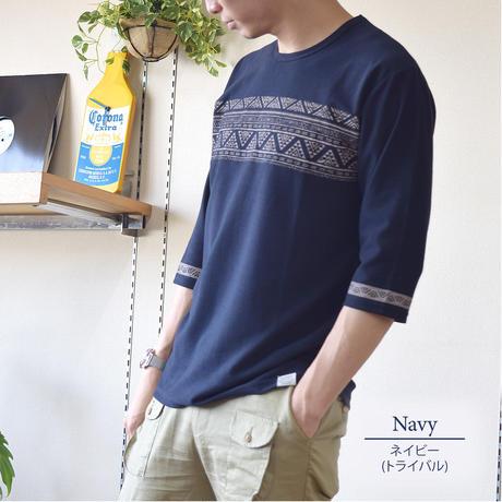 梨地パネルプリント7分袖Tシャツ 0401217-38B(ネイビー・トライバル)