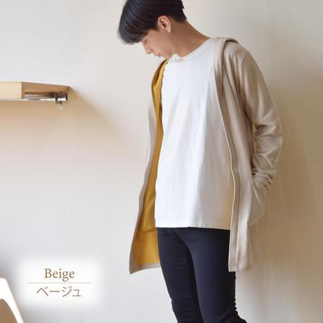 裏毛配色ロングフーディガン  0401211-12(ベージュ)
