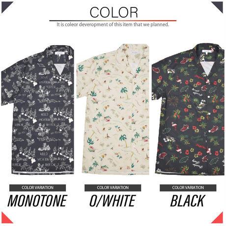 PE総柄プリントオープンカラーシャツ(アロハ) 0343106-08(オフホワイト)