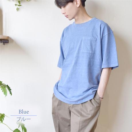 製品染めビッグ 半袖Tシャツ 0703706-28(ブルー)