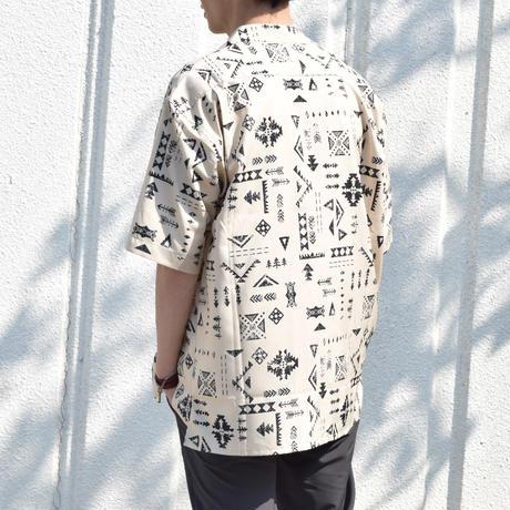 PE総柄プリントオープンカラーシャツ(ネイティブ)  0343105-04(ブラウン)