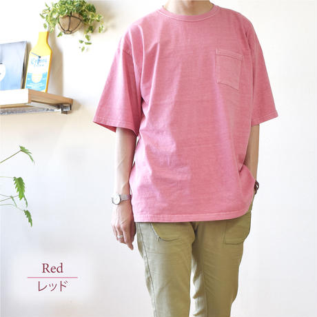 製品染めビッグ 半袖Tシャツ 0703706-23(レッド)