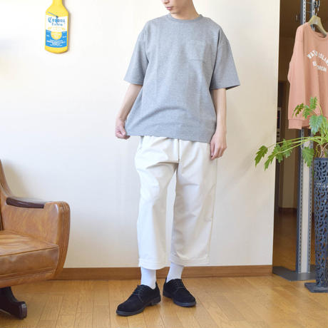 PANASPUR ポンチ素材 ポケット付き クルーネック ビッグシルエットTシャツ 0403506-38(ネイビー)