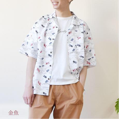 綿スラブ総柄プリントオープンカラーシャツ(和柄) 0343107-10(金魚)