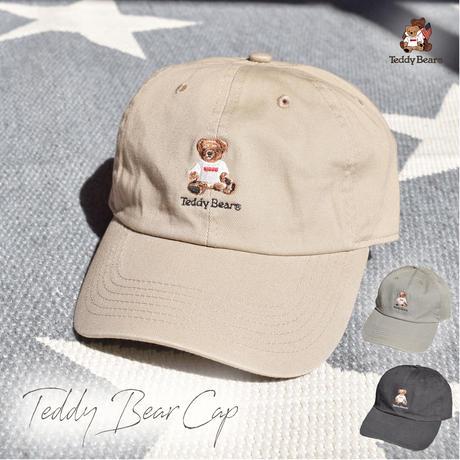 テディベア刺繍入り ローキャップ 0613002-36(オリーブ)